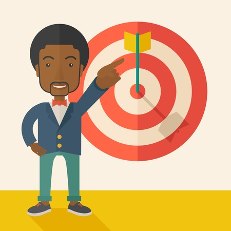 tinted: A black salesman happy standing while his hand pointing to the arrow from target pad shows that he hit his target sales. Business concept. A Contemporary style with pastel palette, soft beige tinted background. Vector flat design illustration. Square layo