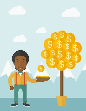 money tree: A successful african businessman standing while catching a dollar coin from money tree. Business growth concept. A contemporary style with pastel palette soft blue tinted background with desaturated clouds. Vector flat design illustration. Vertical layout