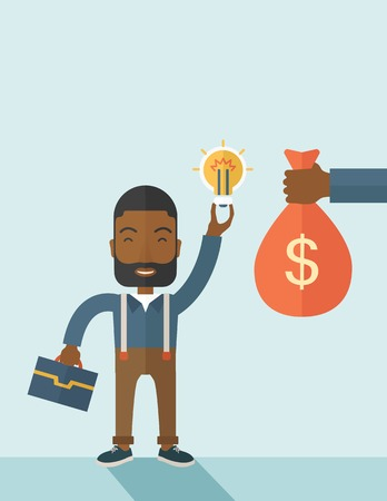 exchanging: An african-american young man exchange his hand with idea bulb to hand of money bag. Exchanging concept. A contemporary style with pastel palette soft blue tinted background. Vector flat design illustration. vertical layout with text space on top part.