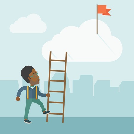 tinted: An african man standing while holding the career ladder to get the red flag in the cloud. Career, success concept.  A contemporary style with pastel palette soft blue tinted background with desaturated clouds. Vector flat design illustration. Square layou Illustration