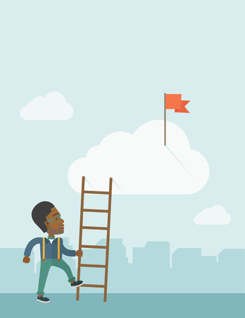 ladder: An african man standing while holding the career ladder to get the red flag in the cloud. Career, success concept.  A contemporary style with pastel palette soft blue tinted background with desaturated clouds. Vector flat design illustration. Vertical lay