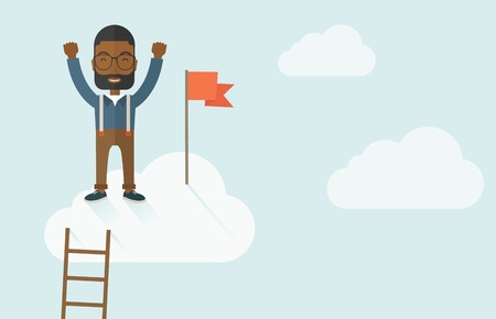 A black businessman climbed using the ladder and standing on the top of the cloud with red flag. Leadership concept. .  A contemporary style with pastel palette soft blue tinted background with desaturated clouds. Vector flat design illustration. Horizont