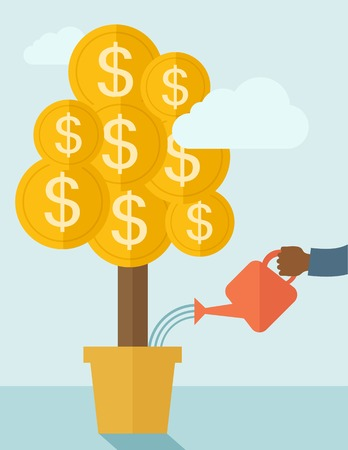 grow money: A human hand holding a can watering the money tree to grow bigger. Hardworking concept. A contemporary style with pastel palette soft blue tinted background with desaturated clouds. Vector flat design illustration. Vertical layout.