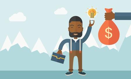 pieniądze: An African-American młody człowiek wymieniać rękę z żarówka pomysł do ręki torbę pieniędzy. Wymiana koncepcji. Współczesny styl w pastelowych palety miękkiej barwione niebieskim tle z desaturated chmur. Ilustracja wektora płaska. Układ poziomy
