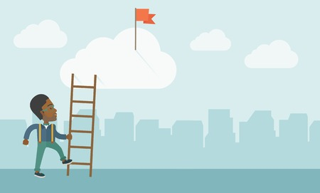 career: An african man standing while holding the career ladder to get the red flag in the cloud. Career, success concept.  A contemporary style with pastel palette soft blue tinted background with desaturated clouds. Vector flat design illustration. Horizontal l