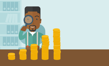 growing business: A black man looking his growing business in financial crisis concept. Economy and money, coin and success. A contemporary style with pastel palette soft blue tinted background. Vector flat design illustration. Horizontal layout with text space in right si