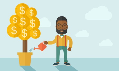 bigger: An african businessma standing while happily watering a money tree growing bigger in a pot as a sign of his success in business. Hardworking concept. A contemporary style with pastel palette soft blue tinted background. Vector flat design illustration. Ho Illustration