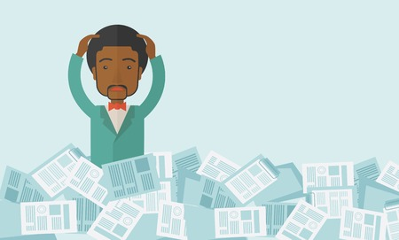 A black guy employee has a lot to do work with those papers around him and having a problem on how to meet the deadline of his report. Disappointment Concept. A contemporary style with pastel palette soft blue tinted background. Vector flat design illustr