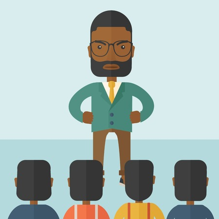 black male: A very angry black boss standing having a meeting to his employees facing him inside the office. Deadline and work Relationships business concept. A Contemporary style with pastel palette, soft blue tinted background. Vector flat design illustration. Squa