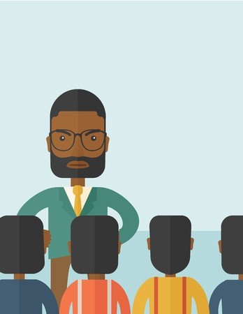 power failure: A very angry black boss standing having a meeting to his employees facing him inside the office. Deadline and work Relationships business concept. A Contemporary style with pastel palette, soft blue tinted background. Vector flat design illustration. Vert
