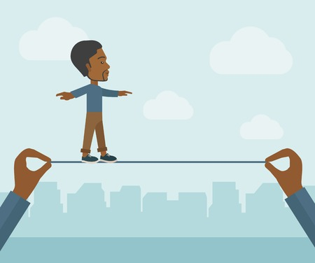 stretched: A black businessman walking on wire stretched by two hands balancing himself to achieve his goal in marketing. Determination and great achievement concept. A Contemporary style with pastel palette, soft blue tinted background with desaturated clouds. Vect