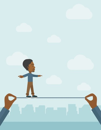 A black businessman walking on wire stretched by two hands balancing himself to achieve his goal in marketing. Determination and great achievement concept. A Contemporary style with pastel palette, soft blue tinted background with desaturated clouds. Vect
