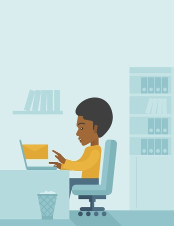 chat room: Young happy african man sitting infront of a table with computer laptop and thinking what to write in e-mail inside his office. A Contemporary style with pastel palette, soft blue tinted background. Vector flat design illustration. Vertical layout with te