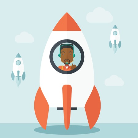 new beginning: A black guy is happy inside the rocket it is a metaphor for starting a business, new beginning. On-line start up business concept.  A Contemporary style with pastel palette, soft blue tinted background with desaturated clouds. Vector flat design illustrat
