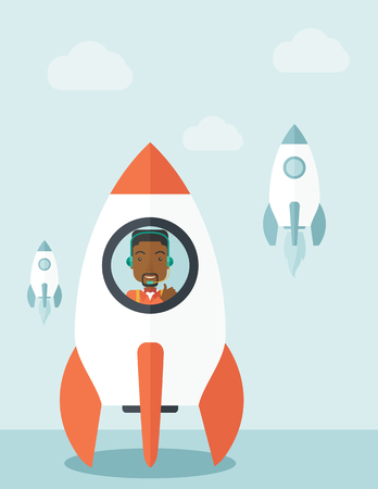 starting a business: A black guy is happy inside the rocket it is a metaphor for starting a business, new beginning. On-line start up business concept.  A Contemporary style with pastel palette, soft blue tinted background with desaturated clouds. Vector flat design illustrat