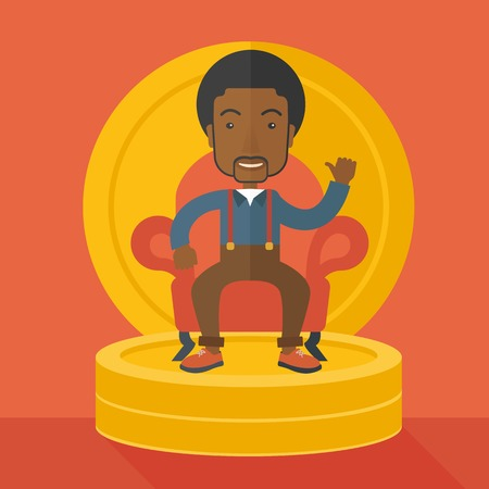 pastel like: A successful african  businessman smiling while sitting like a king on a heap of money. Achievement concept. A Contemporary style with pastel palette, orange tinted background. Vector flat design illustration. Square layout. Illustration