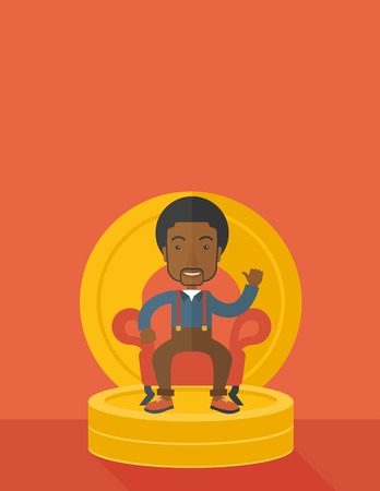 pastel like: A successful african  businessman smiling while sitting like a king on a heap of money. Achievement concept. A Contemporary style with pastel palette, orange tinted background. Vector flat design illustration. Vertical layout with text space on top part. Illustration