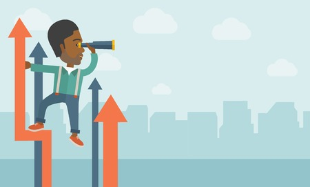 self development: A successful african businessman stand on top of graph arrow using his telescope looking how high he is. Business success, self development concept. A Contemporary style with pastel palette, soft blue tinted background with desaturated clouds. Vector flat Illustration