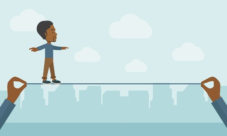 dangerous work: A black businessman walking on wire stretched by two hands balancing himself to achieve his goal in marketing. Determination and great achievement concept. A Contemporary style with pastel palette, soft blue tinted background with desaturated clouds. Vect