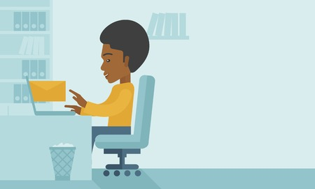 chat room: Young happy african man sitting infront of a table with computer laptop and thinking what to write in e-mail inside his office. A Contemporary style with pastel palette, soft blue tinted background. Vector flat design illustration. Horizontal layout with  Illustration