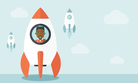 A black guy is happy inside the rocket it is a metaphor for starting a business, new beginning. On-line start up business concept.  A Contemporary style with pastel palette, soft blue tinted background with desaturated clouds. Vector flat design illustrat