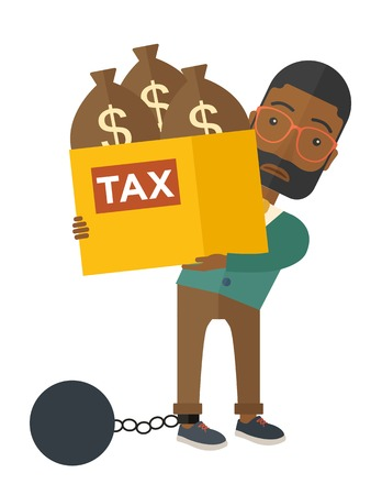 stress ball: An african-american businessman locked in a debt ball in chain for commiting crime in tax ivasion. Debt concept. A Contemporary style. Vector flat design illustration isolated on white background. Vertical layout. Illustration