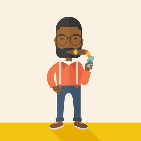 A smiling african-american businessman lighting the cigar tobacco to release pressure from work. Successful business concept.  A Contemporary style with pastel palette, soft beige tinted background. Vector flat design illustration. Square layout.