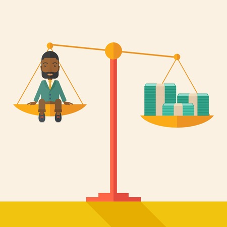 scale of justice: A happy smiling african young male sitting on a balance scale with a money bill. Comparison concept. A Contemporary style with pastel palette, soft beige tinted background. Vector flat design illustration. Square layout.