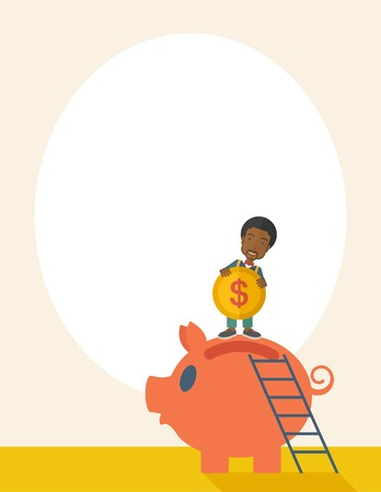 A young black guy saving his money by putting a coin in big piggy bank using a ladder. Saving concept. A Contemporary style with pastel palette, soft beige tinted background. Vector flat design illustration. Vertical layout with text space on top part.