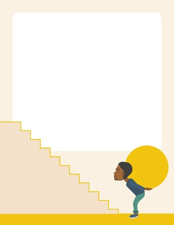 uphill: An african buisnessman sacrifice in carrying a big ball going up to reach the goal. A Contemporary style with pastel palette, soft beige tinted background. Vector flat design illustration. Vertical layout witeh text space on top part.