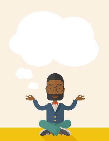 african business: An african man closing his eyes thinking about on how the business will grow. Business concept. A Contemporary style with pastel palette, soft beige tinted background. Vector flat design illustration. Vertical layout with text space on top part. Illustration