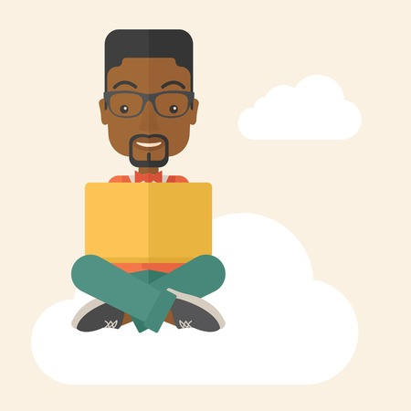 african business: A black guy having a great idea while reading a book. Business concept. A Contemporary style with pastel palette, soft beige tinted background. Vector flat design illustration. Square layout