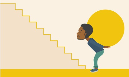 uphill: An african buisnessman sacrifice in carrying a big ball going up to reach the goal. A Contemporary style with pastel palette, soft beige tinted background. Vector flat design illustration. Horizontal layout. Illustration