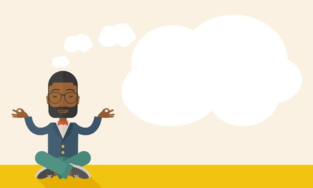 An african man closing his eyes thinking about on how the business will grow. Business concept. A Contemporary style with pastel palette, soft beige tinted background. Vector flat design illustration. Horizontal layout with text space in right side.