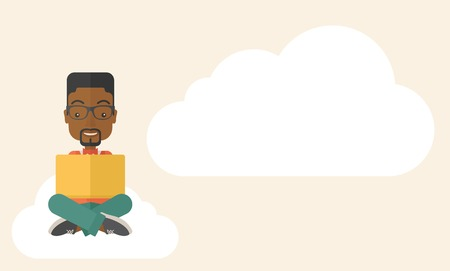 A black guy having a great idea while reading a book. Business concept. A Contemporary style with pastel palette, soft beige tinted background. Vector flat design illustration. Horizontal layout with text space in right side.
