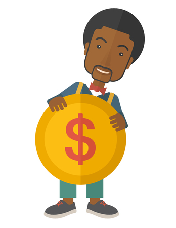 A black businessman carry big coin of money with his power in business. Business concept. A Contemporary style. Vector flat design illustration isolated white background. Vertical layout.