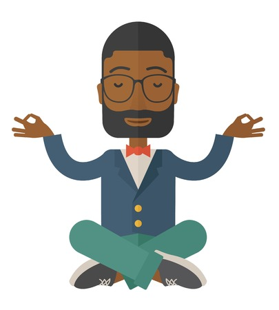 An african man closing his eyes thinking about on how the business will grow. Business concept. A Contemporary style. Vector flat design illustration isolated white background. Square layout. Stock Illustratie