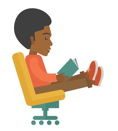 sentarse: Un hombre negro sentarse con un libro en la mano la lectura de la estrategia de mercado de negocios. Un estilo contemporáneo. Aislado Vector diseño plano ilustración de fondo blanco. Diseño Square.