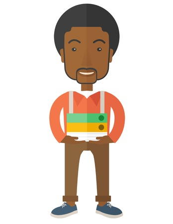 happy employee: An african Stressful but happy employee standing in office carrying his finished file report ready to submit to his superior. Busy concept. A Contemporary style. Vector flat design illustration isolated white background. Vertical layout.
