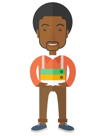 employ� heureux: Un employ� permanent africain stressant mais heureux dans le bureau portant son fichier fini rapport pr�t � se soumettre � son sup�rieur. Occup� notion. Un style contemporain. Vector design plat illustration isol� fond blanc. Pr�sentation verticale.