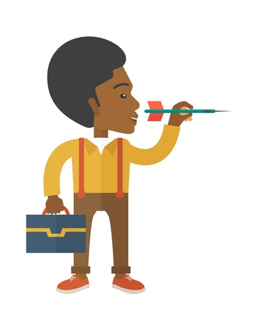 A black man holding a target arrow looking for the target pad for him to achieve his goal A contemporary style. Vector flat design illustration with isolated white background. Vertical layout.