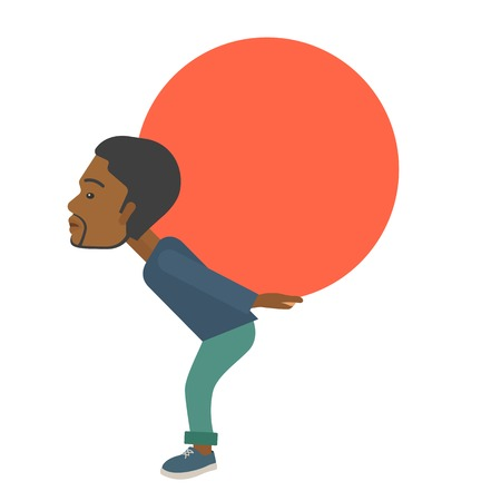 buisnessman: An african-american buisnessman sacrifice in carrying a big ball going up to reach the goal concept. A Contemporary style. Vector flat design illustration isolated white background. Square layout.