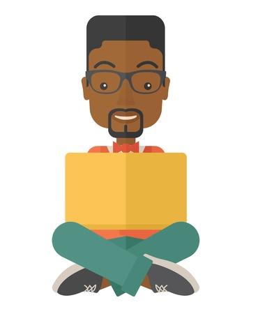 sentarse: Un hombre negro que tiene una gran idea al leer un libro. Concepto de negocio. Un estilo contemporáneo. Aislado Vector diseño plano ilustración de fondo blanco. Diseño vertical