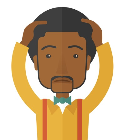 A black businessman with problem standing scratching his head with question marks beside him. A contemporary style. Vector flat design illustration with isolated white background. Square layout.