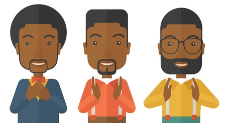 black people: A three young black handsome businessmen with different color of hair. Successfully reach their target in marketing. A contemporary style. Vector flat design illustration with isolated white background. Horizontal layout.