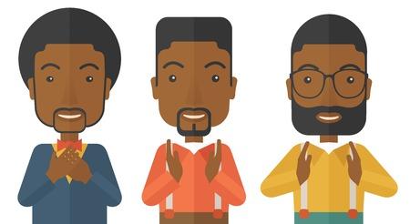 negras africanas: A tres jóvenes empresarios guapos negro con diferente color de cabello. Alcanzar con éxito su objetivo en la comercialización. Un estilo contemporáneo. Vector diseño plano ilustración con fondo blanco aislado. Diseño horizontal.