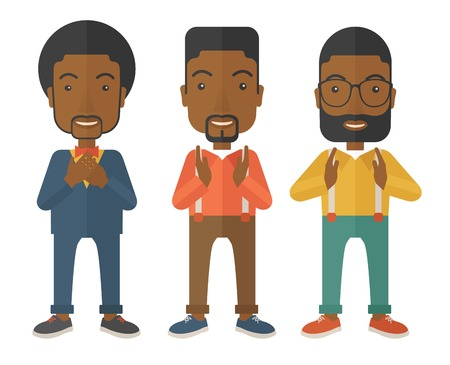 A three young black handsome businessmen with different color of hair. Successfully reach their target in marketing. A contemporary style. Vector flat design illustration with isolated white background. Square layout.