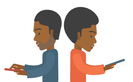 dialing pad: A two african businessmen using their mobile phone for business proposal. . A contemporary style. Vector flat design illustration with isolated white background. Horizontal layout.