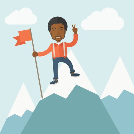 A happy black businessman standing on the top of a mountain with snow holding a red flag. Cheerful, winner and leader concept. A Contemporary style with pastel palette, soft blue tinted background with desaturated clouds. Vector flat design illustration.  Vector