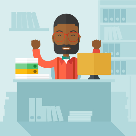 A very happy black businessman sitting while raising his both hand finished his work with laptop and paper works on time inside his office. Achievement concept. A Contemporary style with pastel palette, soft blue tinted background. Vector flat design illu
